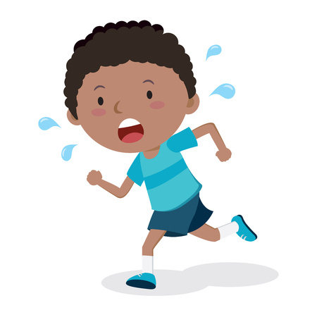 Little boy running. Marathon runner.