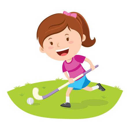 Hockey speler. Vector illustratie van een klein meisje speelt hockey in een veld.