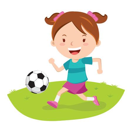 어린 소녀 축구 재생입니다. 축구 공을 걷어 차는 소녀. 일러스트