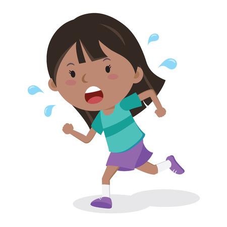 Little girl running. Marathon runner.