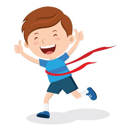 race winner: Race winner. Amazing race winner! Marathon winner! Illustration