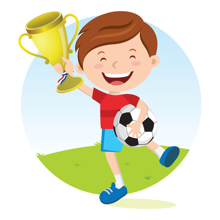 wining: Soccer boy holding gold trophy. Boy holding trophy jumping for joy.