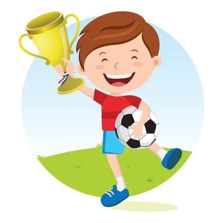 Soccer boy holding gold trophy. Boy holding trophy jumping for joy.
