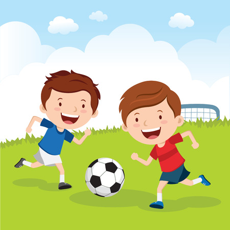Soccer boys. Boys playing soccer on the sport field. Soccer players. 版權商用圖片 - 62403040