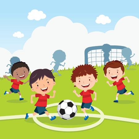 cancha de futbol: Juego de fútbol. Niños jugando al fútbol en el campo del deporte. Jugadores de futbol.