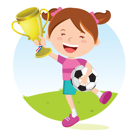 wining: Soccer girl holding gold trophy. Girl holding trophy jumping for joy.