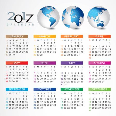 calendar icon: 2017 Calendar Illustration