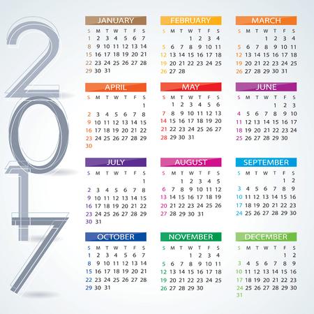 calendario noviembre: Calendario 2017 Vectores