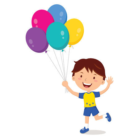 gesturing: Boy holding balloons isolated. Happy boy gesturing with colorful balloons. Illustration