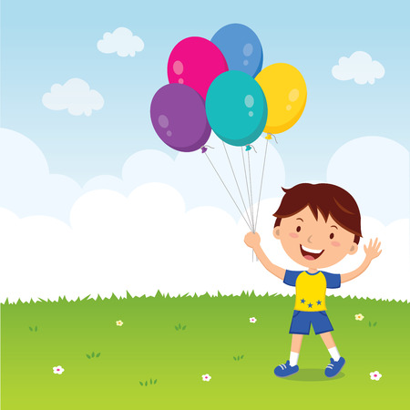 gesturing: Boy holding balloons. Happy boy gesturing with colorful balloons.
