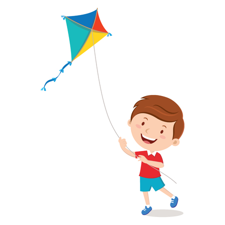 Boy playing kite 일러스트
