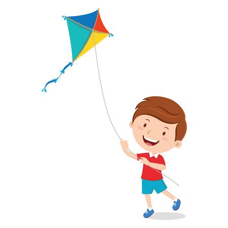 Boy playing kite Illustration