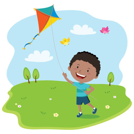 cartoon kid: Boy playing kite. illustration of a cheerful boy enjoying flying kite.