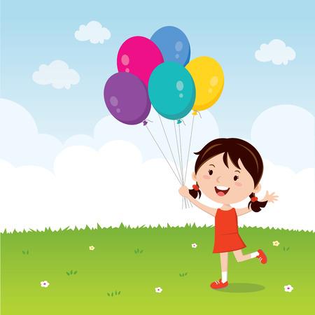 소녀 풍선을 들고. 다채로운 풍선과 몸짓 행복 한 소녀. 일러스트