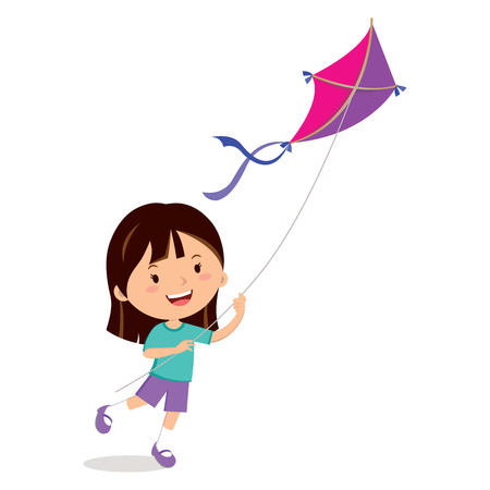 Girl playing kite. illustration of a cheerful girl flying kite. Illustration