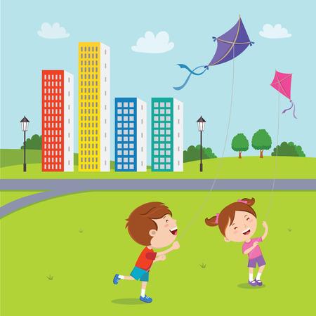 happy kids: Happy kids playing kites Illustration
