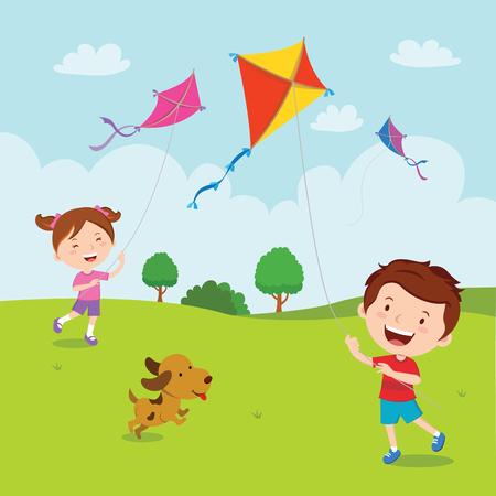 perrito: Niños jugando cometas Vectores