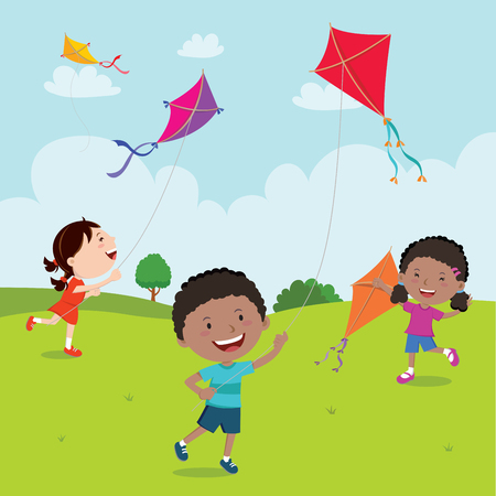 Kids playing with kites Stock Illustratie