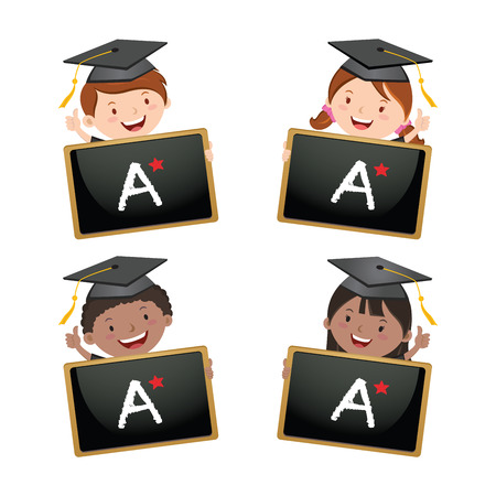 academia: Graduation kids holding board