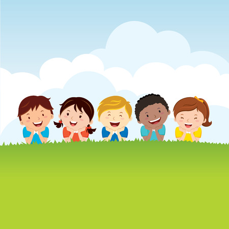 Kids lying on the grass. Group of happy children lying on the grass.  イラスト・ベクター素材