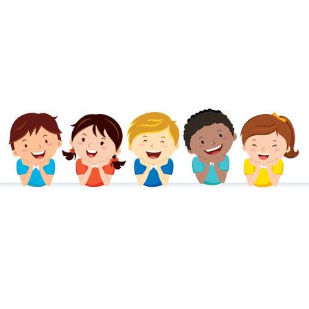 幸せな子供とバナー。バナーと多民族の子供たちのグループです。