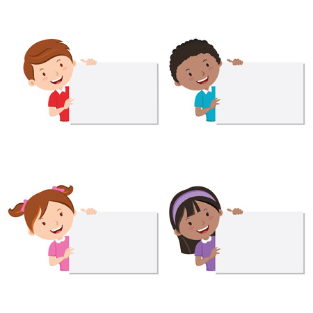 cute girl: Children with board. Children holding cardboard. Presentation.