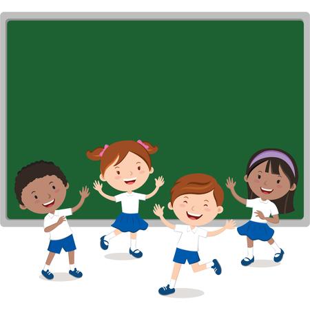 Children and board. Fun in the classroom.