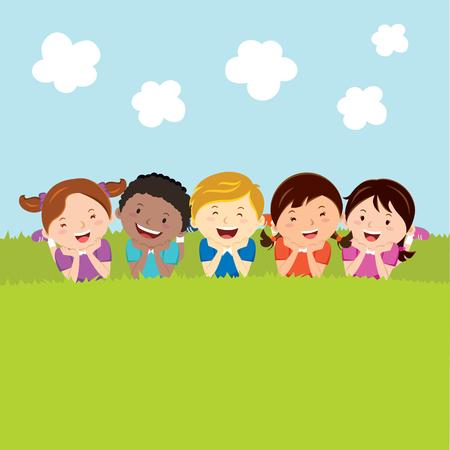 Happy kids lying on the grass Ilustração
