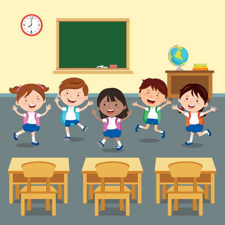 Back to school. illustration of happy student in classroom.  イラスト・ベクター素材