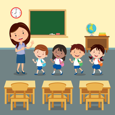 학교로 돌아가다. 여성 교사와 교실에서 학생의 그림.