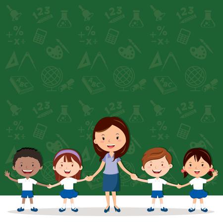 Kobieta nauczyciel i dzieci w szkole. Ikony edukacji w tle.