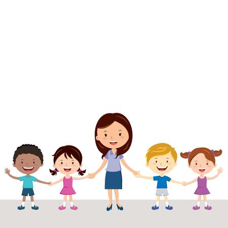 명랑 교사와 학생. 여교사의 그림과 손을 잡고 다양 한 아이.