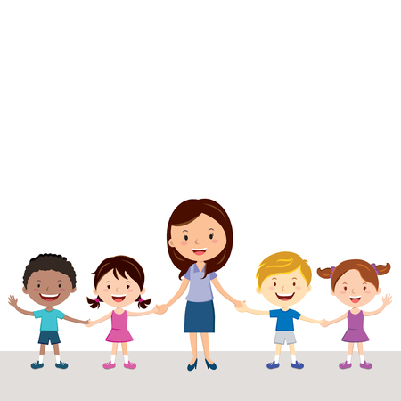 Cheerful teacher and students. illustration of a female teacher and diverse children holding hands.