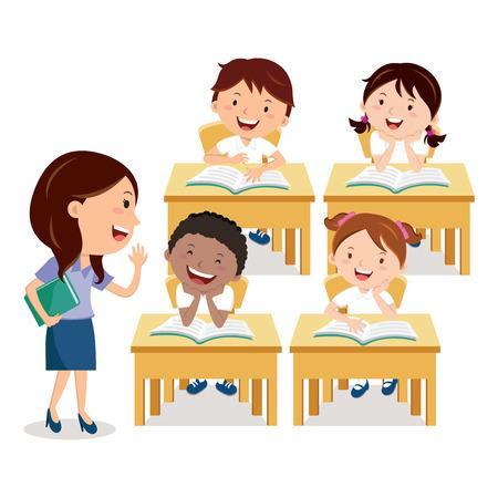 profesor alumno: niños de la escuela que estudian con el maestro