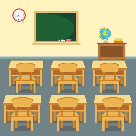 school classroom: School classroom. illustration of the interior of elementary classroom.