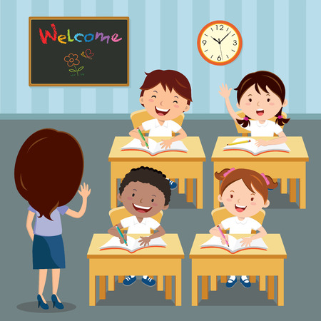 先生は、教室のレッスンの時に学校の子供たち。小学校の子供を教室で勉強のイラスト。