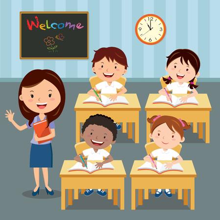 レッスンの教室の先生や学校の子供。教室で勉強して小学生のイラスト。