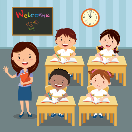 Teacher and school kids in classroom at lesson. illustration of primary School children studying in the classroom.