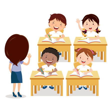 child sitting: School lesson. Teacher and school children.