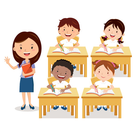 School lesson. Teacher and school kids. Vettoriali