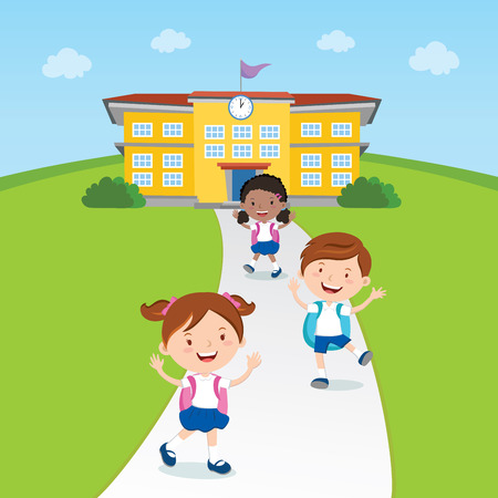 classmate: Student going home from school.  illustration of a school kids and school building.