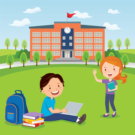 college campus: Students going to college or university