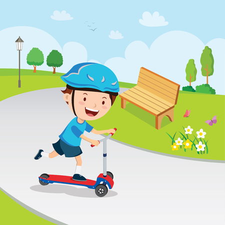 Boy learn to ride scooter  イラスト・ベクター素材