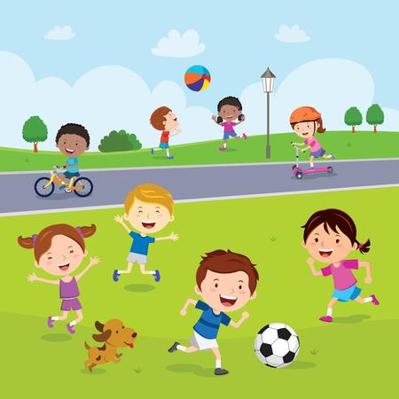 Children having fun in the park Vectores