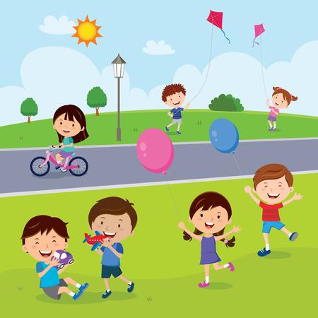 kid vector: Los niños se divierten en el parque Vectores