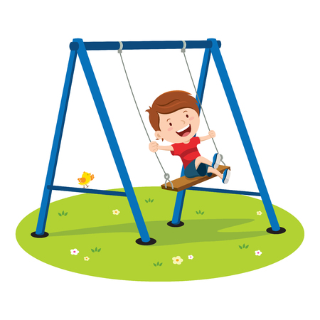 male teenager: Cute boy playing on swing