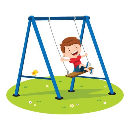 Het leuke jongen spelen op de schommel Vector Illustratie