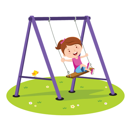 Cute girl playing on the swing