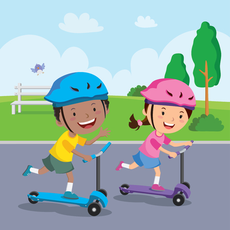 Kids learn to ride scooter Vector Illustration