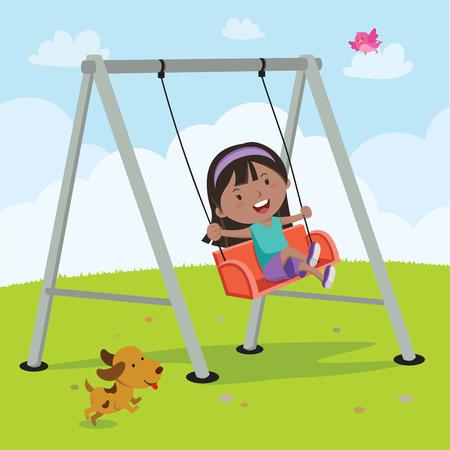 Petite fille sur une balançoire Vecteurs